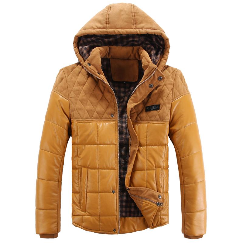 青少年休闲冬装 男士连帽拼接pu辑格棉衣 修身男款夹棉加厚外套潮