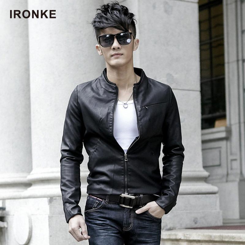 艾伦客 男装皮衣 皮夹克 男士皮衣 秋装韩版修身短款男式外套