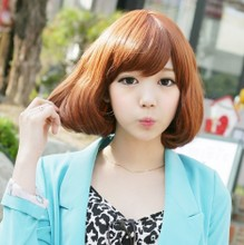 The new promotion package mail wig cone bobo head short sell like hot cakes The girl pear flower head Neat bang short curly hair