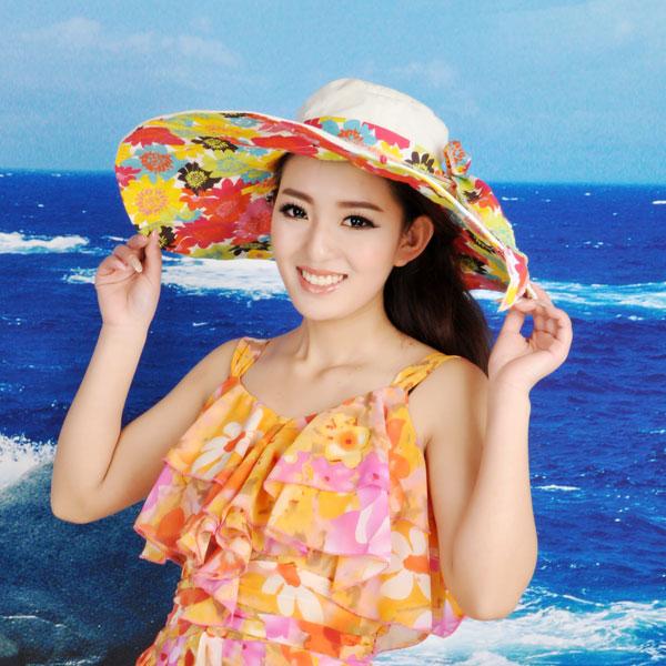 夏天可折叠沙滩帽大沿帽女遮阳帽太阳帽仿紫外线大檐帽送飘带