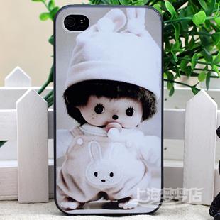 蒙奇奇保护壳 iphone 4外壳 苹果4代 硅胶套 软胶彩绘手机套 配件