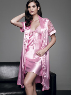 Dream ba Sally pajamas pink with soft copy silk short sleeve noble bud silk gown 010411121