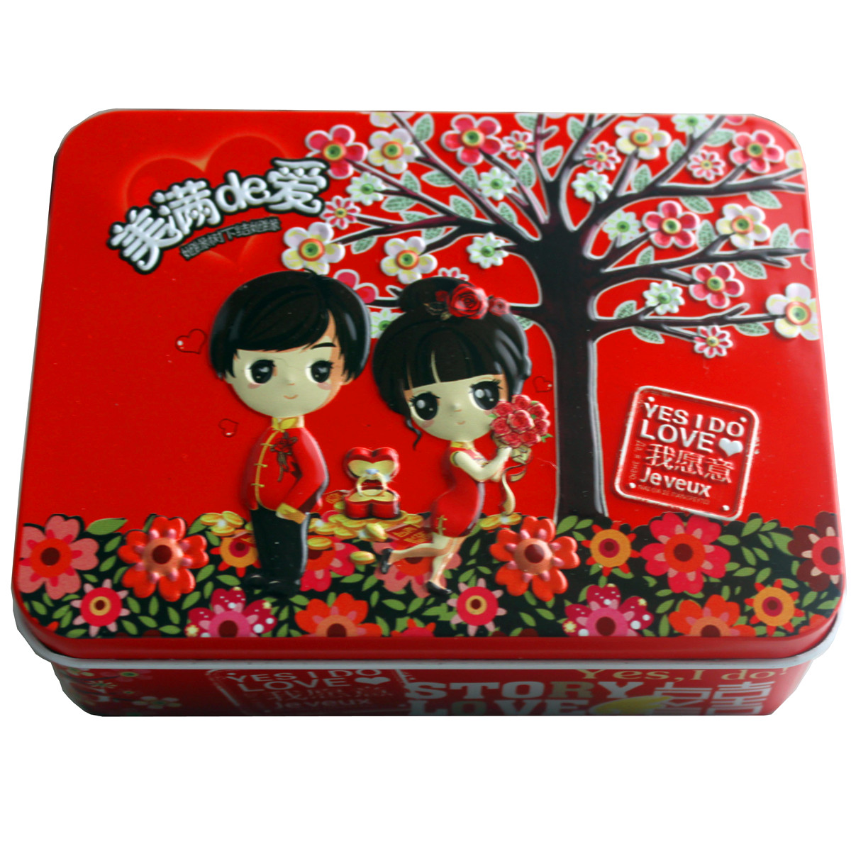 2012新款长方形甜蜜马口铁糖盒 中国传统系类马口铁喜糖盒