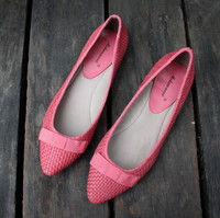 2015新款韩版编织羊皮尖头平底 全皮女鞋浅口低帮纯色平跟单鞋