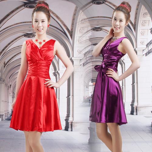 Вечернее платье Новый стиль красный qipao мини платье Корейский тост невесты платье x183 платья Свадебные