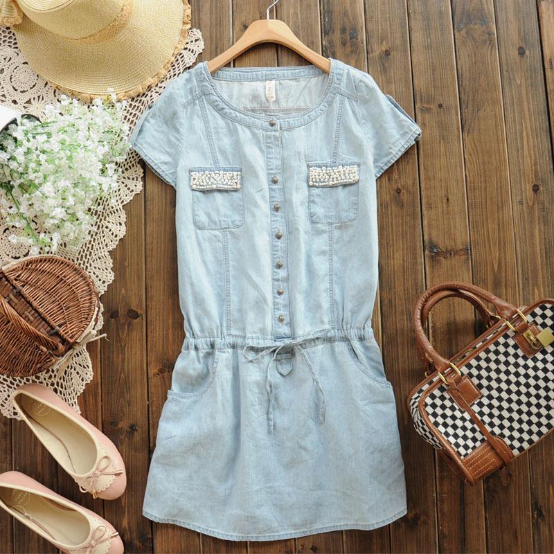 【浅爱】瑛S3406新款2012夏季甜美钉珠修身短袖牛仔连衣裙 短裙子