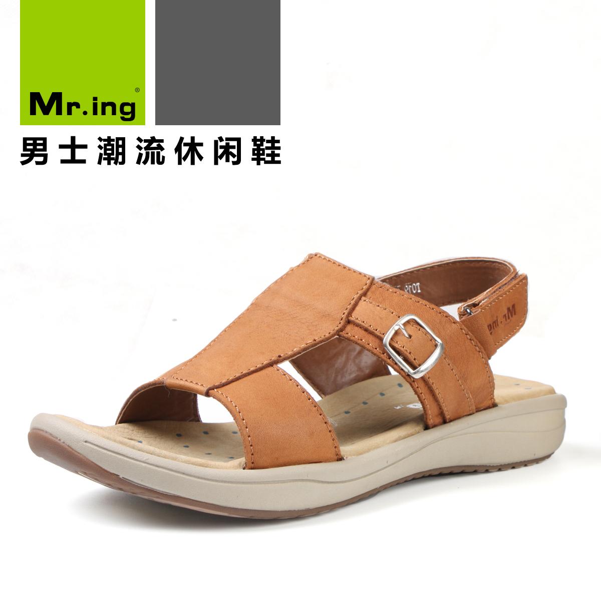 Сандали Mr. ing brand Mr.ing T019 Открытый носок Пряжка Кожа быка Лето