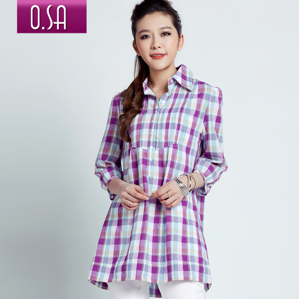 женская рубашка OSA sc90202 O.SA OL C90202 Casual В клетку