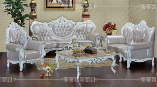 столик Американский нео классическом европейском стиле кожаный диван диван диван твердой древесины резной диван стиль мебель для гостиной