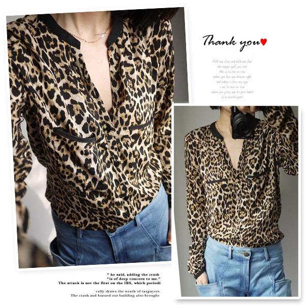 женская рубашка ZARA Городской стиль Длинный рукав Леопардовый узор Весна 2012 V-образный вырез