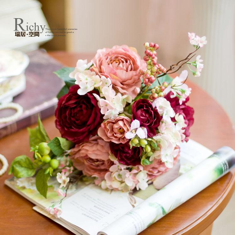 卷边玫瑰新娘欧式手捧花\复古颜色仿真玫瑰花0.4kg