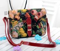 包邮小包包2014新款女包韩版潮油画单肩斜跨包花朵印花复古特价包