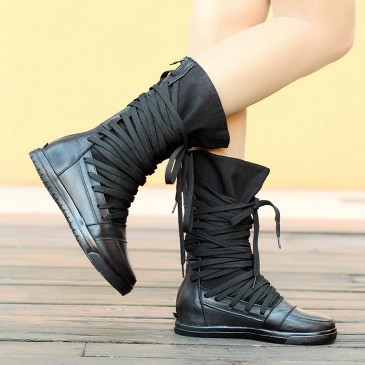 Женские сапоги Осень/Зима 2013 кожаные сапоги холст крест ремень низкие ботинки женщин Туфли кожаные сапоги байкерские ботинки