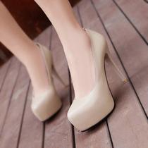 约修亚裸色高跟鞋亮面潮流防水台真皮2012秋冬新款婚鞋女鞋单鞋女