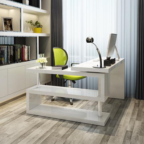 小樹林家具 簡約轉角書桌 烤漆書柜書桌書架組合現代寫字臺電腦桌圖片