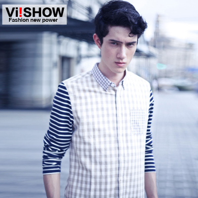 Clearance viishow2014 Autumn new influx of men cultivating long-sleeved striped shirt plaid shirt men