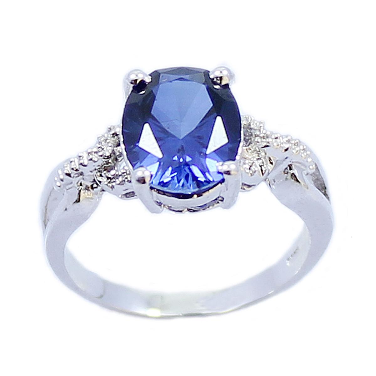 人气热卖 七夕礼物天然蓝刚玉戒指 纯银半宝石日韩女戒子 复古指环