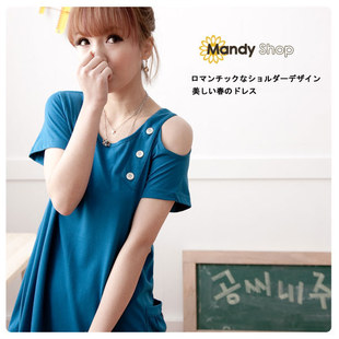 Spring/summer 2012 new style Korean dress maternity dresses pregnant women personality asymmetric exposed shoulder maternity skirt