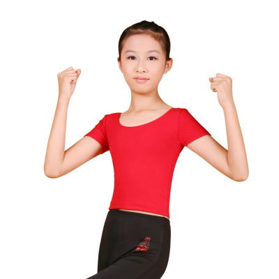 Children's flagship sports redrain Falling short sleeve round neck T-shirt dance clothes and Specials
