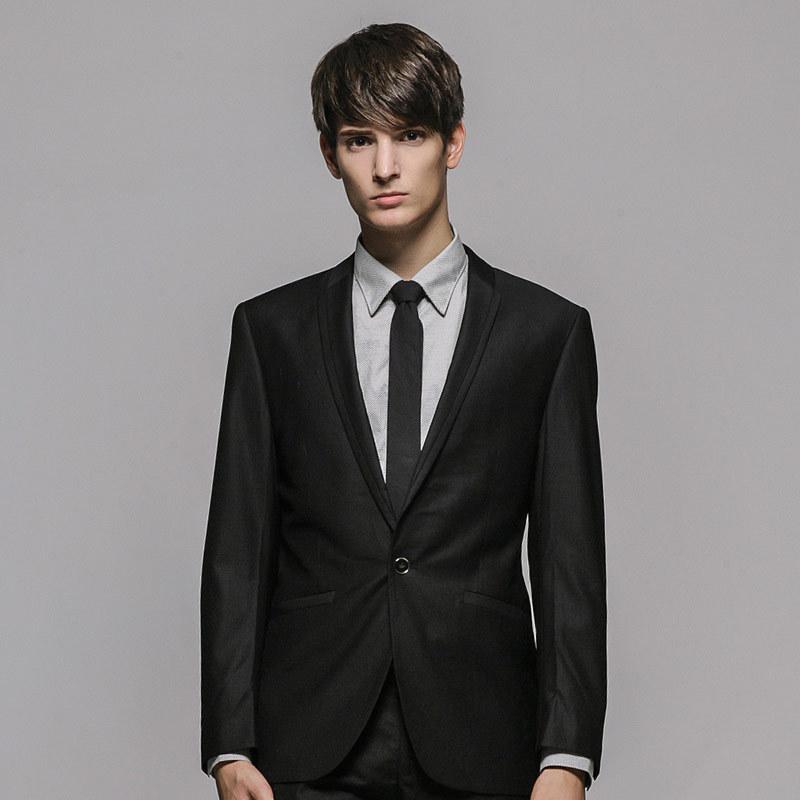 【秋装特惠】GXG正品 男士修身黑色商务套装西服 套西#99113017