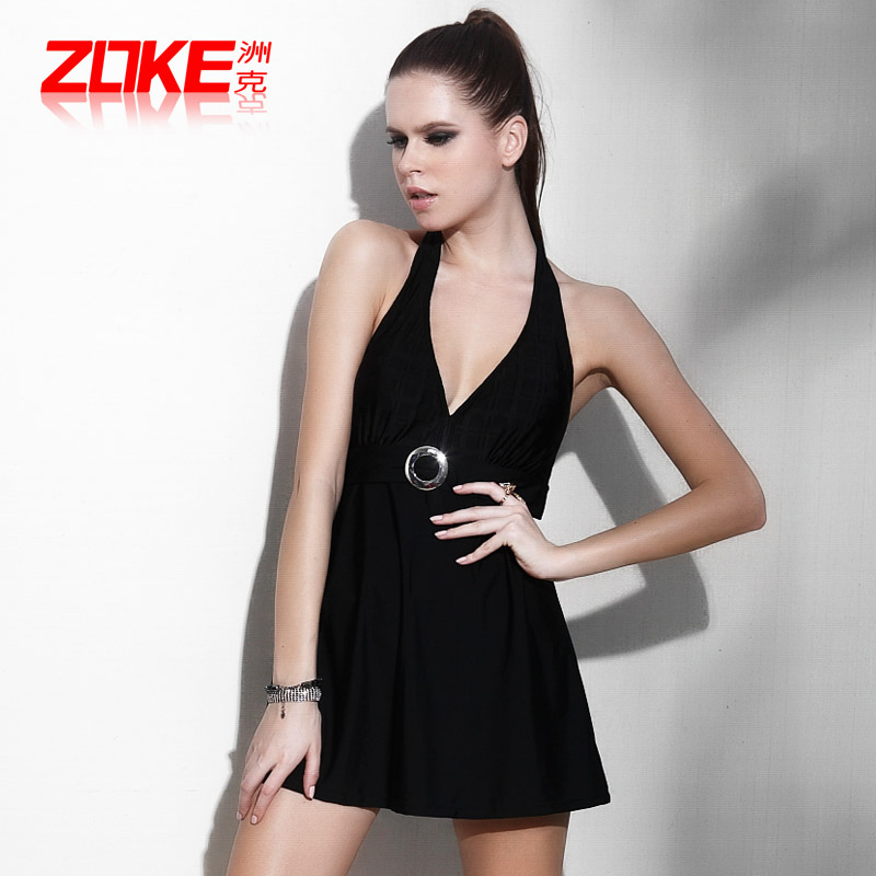 купальник 欧美大码泳衣女连体裙式保守遮肚大胸zoke2014新款显瘦品牌游泳衣