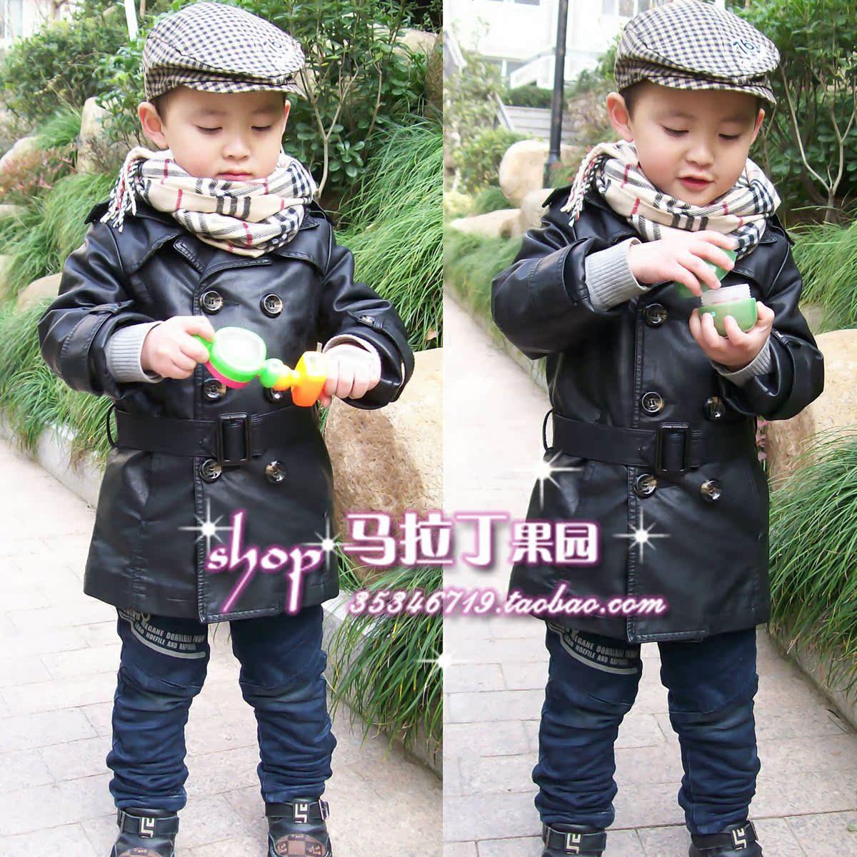 детская куртка OTHER Для молодых мужчин Кожа Двубортная Отложной воротник