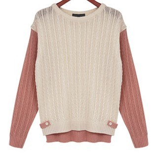 Korea genuine buying spring clothing women's Europe and  wind twist spell colour Raglan DCF casual round neck long sleeve knit shirt