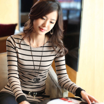 New autumn ladies ' Korean 1111 Carnival stripe slim end of long bi-fold long sleeve t-shirt woman shirt woman