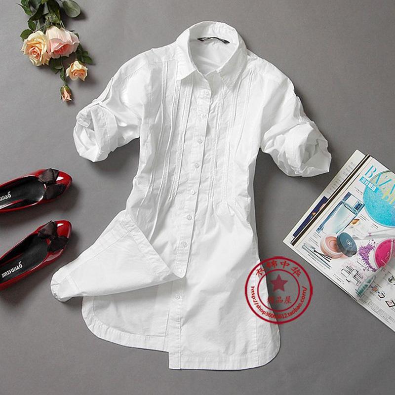 женская рубашка Простой хлопок торговли BAS нагрудные длинные дуги в корейской версии короткий рукав Повседневный