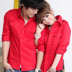 Gurun Vani Cotton Solid Pointed Collar Long Sleeve Couple T-Shirts