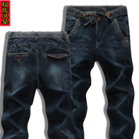 2016男士四季弹力修身大码牛仔小脚裤蓝色铅笔裤新潮卫裤潮流长裤