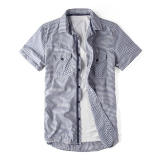 Cotton stick to quality men short sleeve Plaid shirts men's casual shirt Plaid Shirt S6096