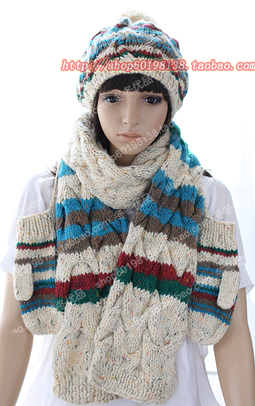 Комплект из трех предметов Шапка шарф перчатки набор корейских моды женщина женщины шерсти шерстяные перчатки плюс длинный шарф Cap вкладку