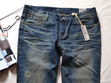 South Korea imports authentic collaosed burney cocoa wash do old cotton straight jeans super classic