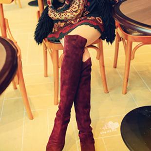Женские сапоги Депозит дроссель немного вина Чили красный замши с лайкрой, шить Джокер плоские сапоги колена сапоги женские Высокие сапоги Без застежки