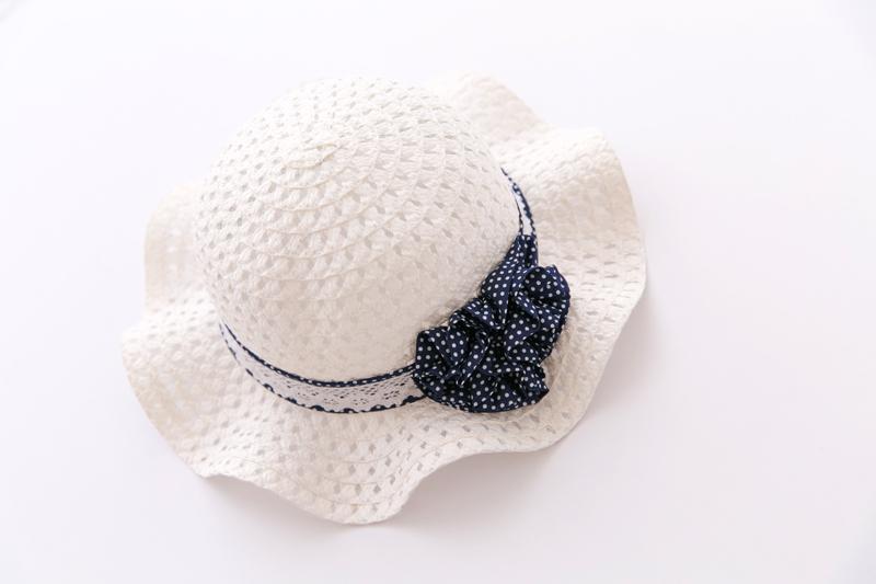 Головной убор Дети выдалбливают маленькая Лолита волновой точки цветы белых мужчин и женщин детей Baby дети детская летняя классическая соломенная шляпа затенение шляпа