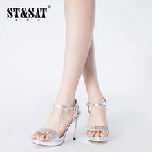 星期六品牌春夏新款女鞋 蛇纹面羊皮高跟细带凉鞋SS42110009包邮图片