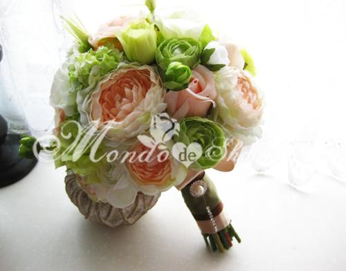 【清清的自然】香槟&绿色露莲橘梗高仿真新娘手捧花