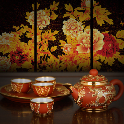 KAMJOVE/KAMJOVE China royal curiosa gold plated ceramics, tea KJ - 6801 a