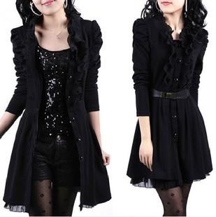 2014秋季大码女装气质连衣裙黑色蕾丝女裙长袖外套薄风衣