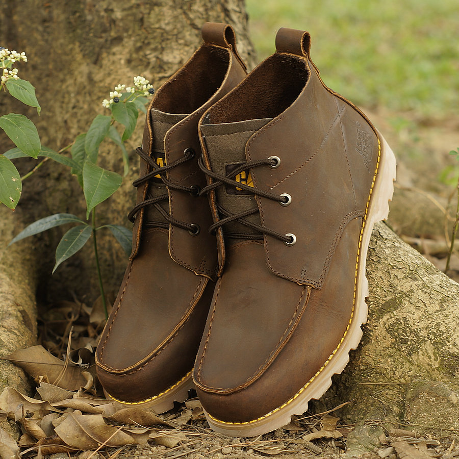 Ботинки мужские CAT Для отдыха Квадратный носок Верхний слой из натуральной кожи Кожа дикой лошади Весна и осень
