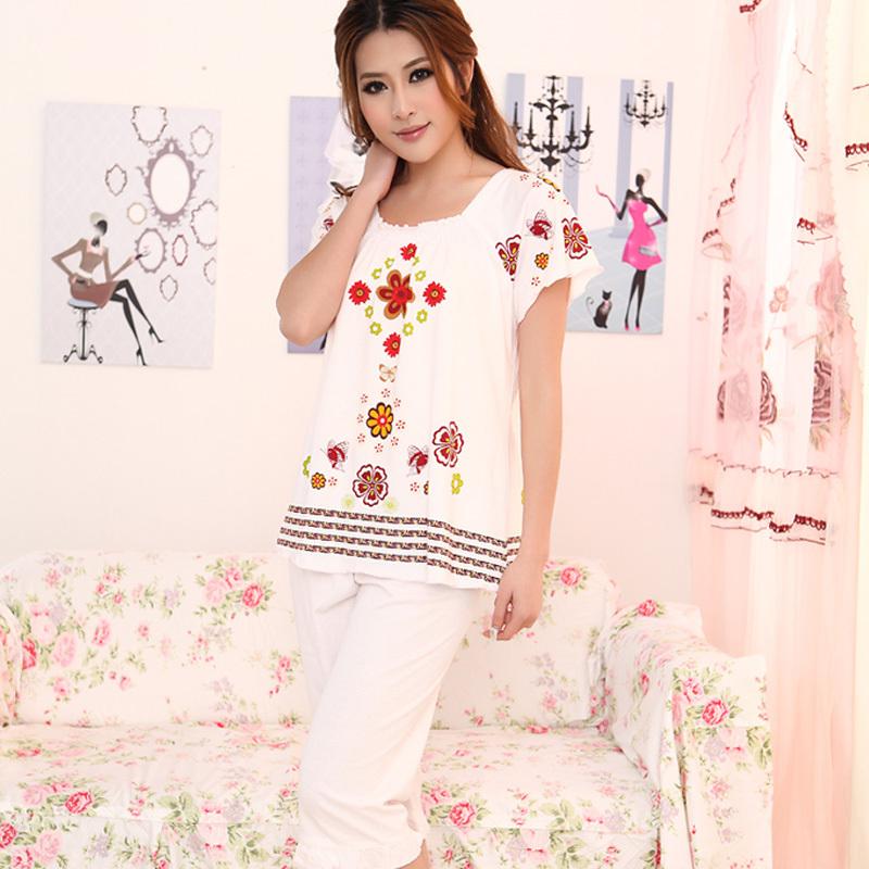 莎倩新款夏季女士睡衣套装 针织棉质短袖短裤睡衣夏女家居服套装