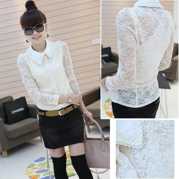 Блузка 9,25 осень/зима 2012 новый Западный стиль жемчужина рубашку лацкане длинный рукав тонкий дамы кружевной рубашки #f1842