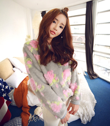 New Korean style retro flower fur O Neck pullover hoodie jacket