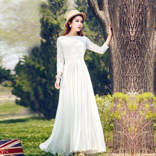 早秋长袖白色连衣裙雪纺女夏大摆裙子高端2021沙滩裙长裙脚踝