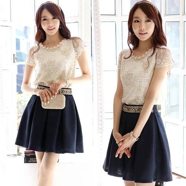 夏装新款淑女连衣裙加大码气质优雅两件套装两件套雪纺蕾丝衫女装