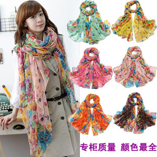 Ms. lengthened oversized Korean autumn and winter shawls wholesale scarves female Korean Spring and Autumn long section pastoral floral scarf