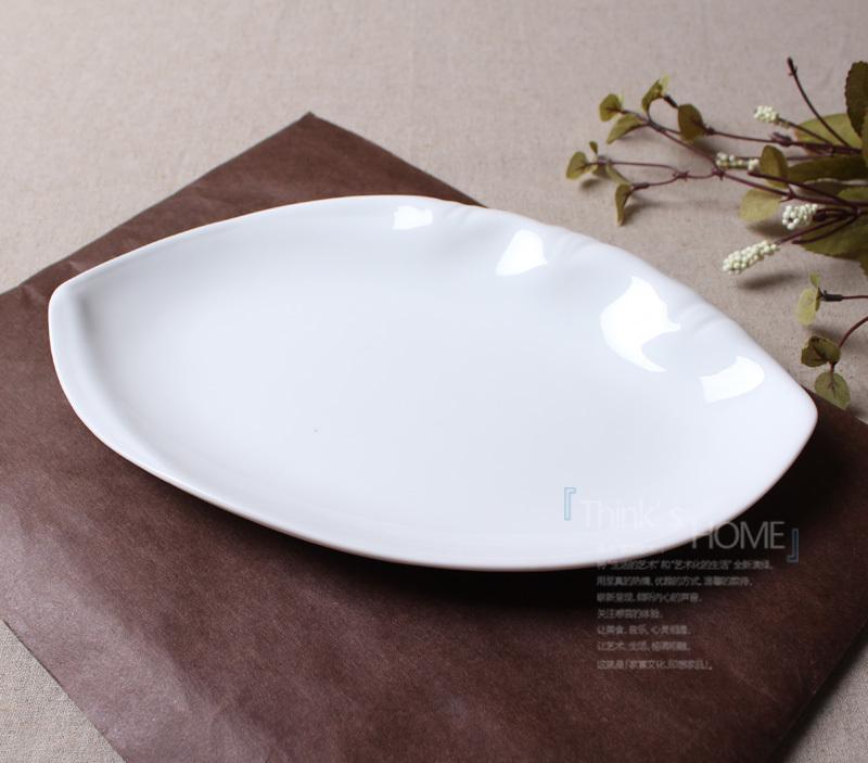 纯白10寸英式浮雕陶瓷鱼盘/创意餐具/菜盘子/宜家经典实用盘子