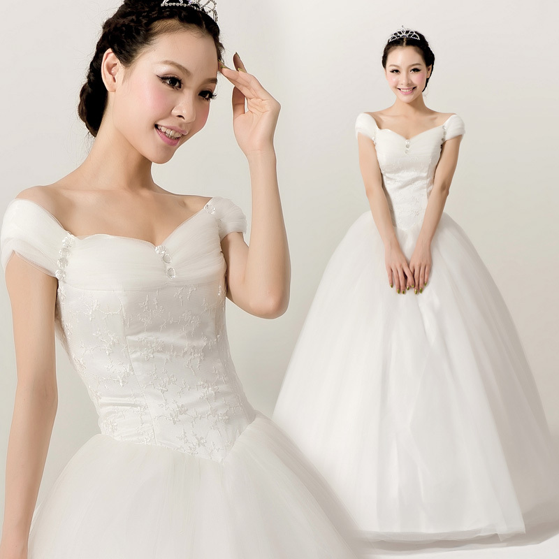 婚纱礼服2013新款 韩版一字肩婚纱 韩式齐地甜美公主包肩特价婚纱