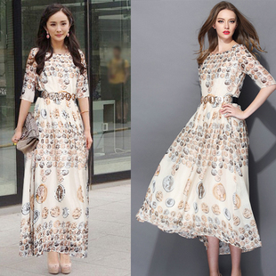 BLK 2014 Couture catwalk in Europe and America the new sweet long sleeve dress in abstract printed Yang Mi 652